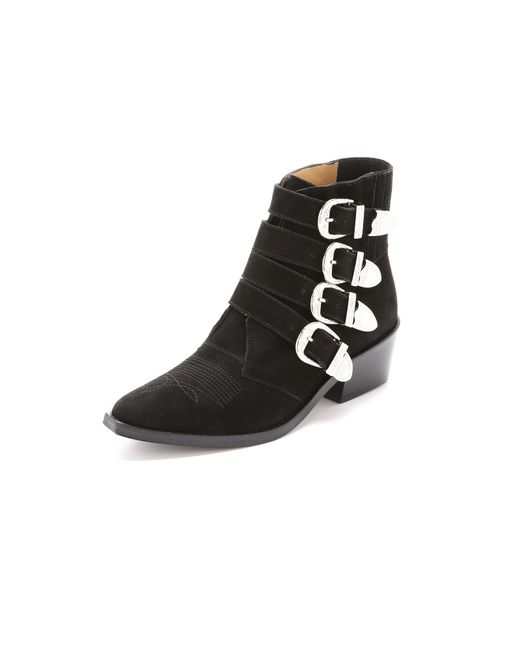 Toga Pulla - Black Buckled Suede Booties - Lyst