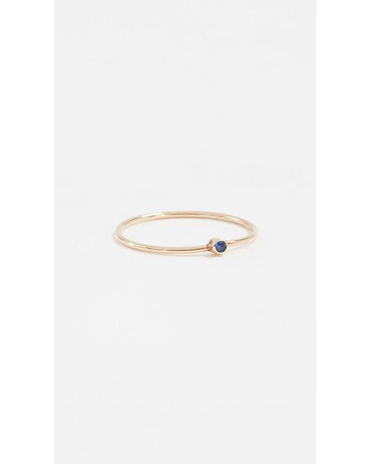 Jennifer Meyer - Metallic Thin Ring With Sapphire - Lyst