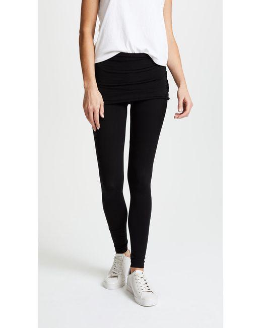 Splendid - Black Fold Over Leggings - Lyst