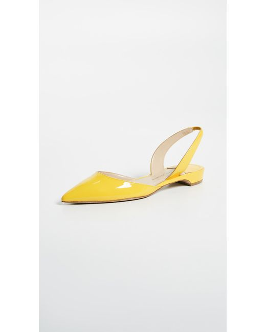 Paul Andrew - Yellow Cowslip Suede Rhea Slingback Flat - Lyst
