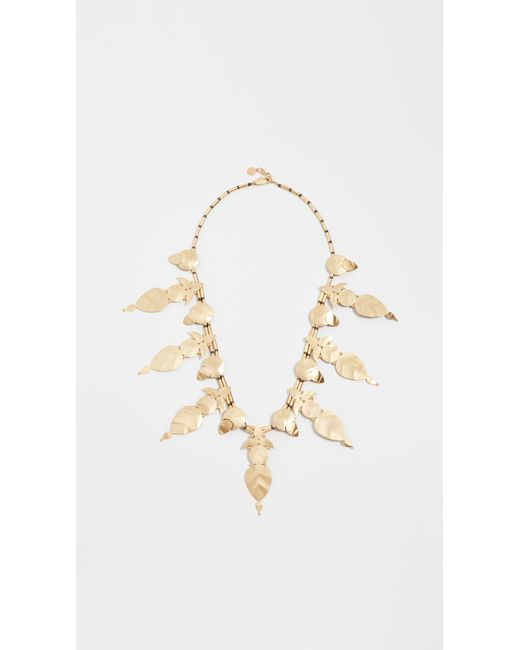 Tory Burch - Metallic Willow Leaf Long Necklace - Lyst