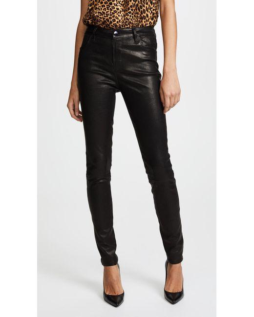 J Brand - Black Maria High Rise Leather Pants - Lyst