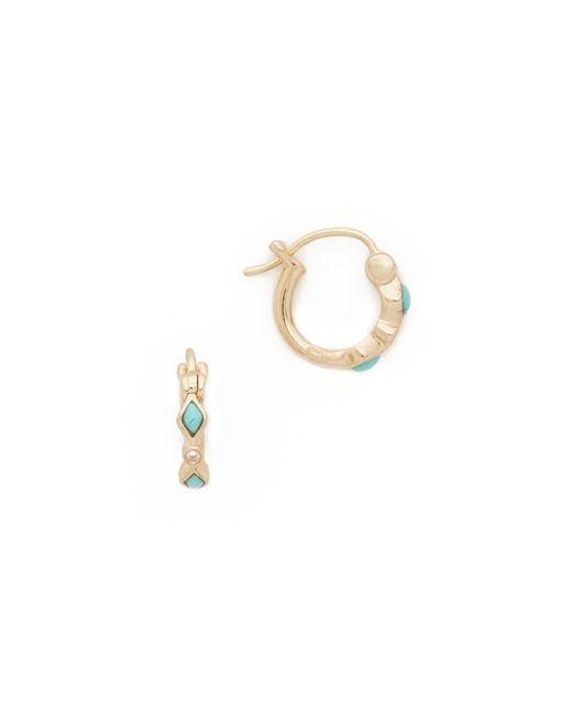 Sydney Evan | Multicolor Turquoise Diamond Bezel Huggie Hoop Earrings | Lyst