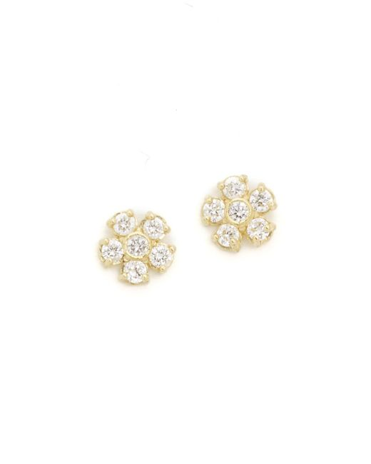 Jennifer Meyer | Metallic Diamond Flower Stud Earrings | Lyst
