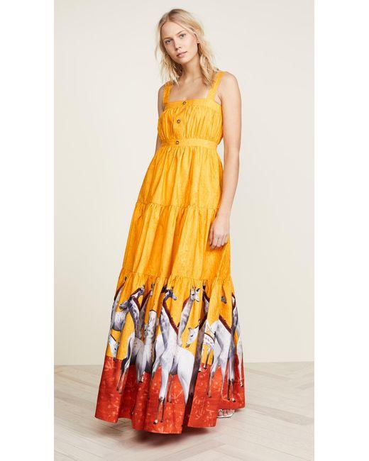 Stella Jean - Yellow Giraffe Maxi Dress - Lyst
