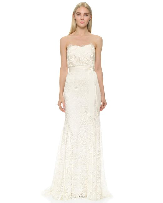 Lyst - Theia Sweetheart Strapless Lace Gown in White