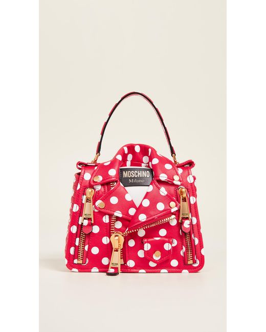 259dd47eff29 Moschino - Red Polka Dots Biker Bag - Lyst ...