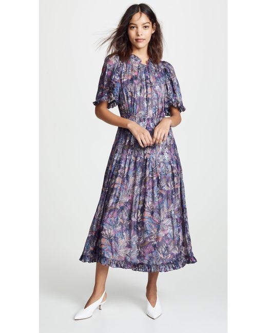 2553ac551dc0 Rebecca Taylor - Blue Short Sleeve Floral Dress - Lyst ...