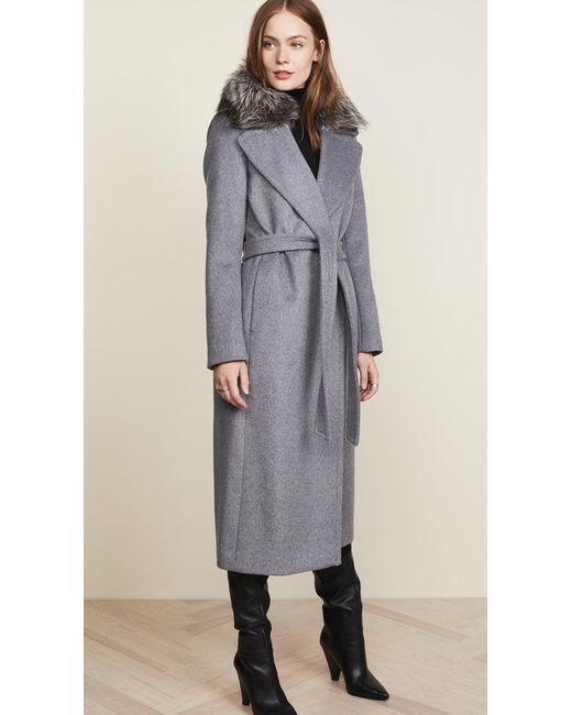 SOIA & KYO - Gray Adelaida Wool Coat With Removable Fur Trim - Lyst