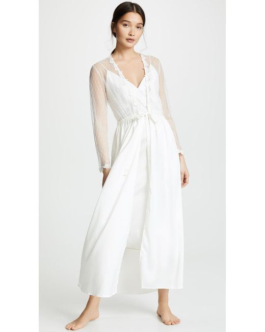 339b2abed Flora Nikrooz - White Showstopper Charmeuse Lace Robe - Lyst ...