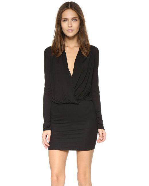 Lanston | Black Surplice Long Sleeve Dress | Lyst