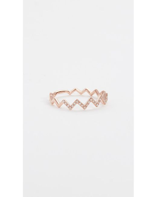 EF Collection - Pink Pave Diamond Zigzag Stack Rings - Lyst