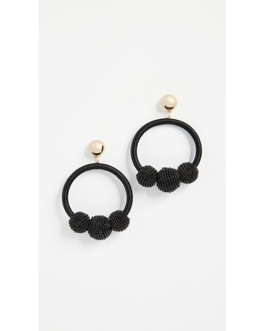 Kate Spade - Black The Bead Goes On Hoop Statement Earrings - Lyst