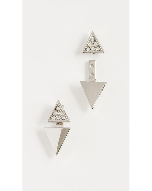 Rebecca Minkoff - Metallic Double Triangle Earrings - Lyst