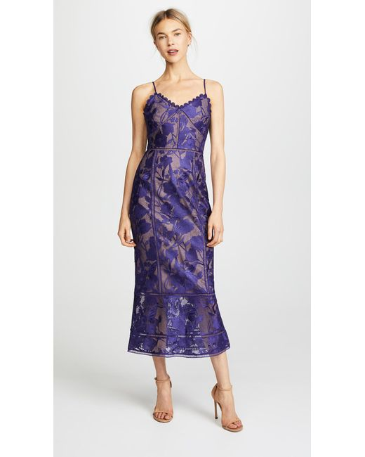 Lyst - Notte By Marchesa Tea Length Cocktail Dress in Purple