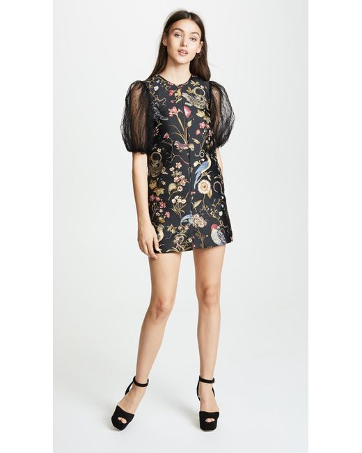 Red Valentino Black Fl Embroidered Dress Lyst
