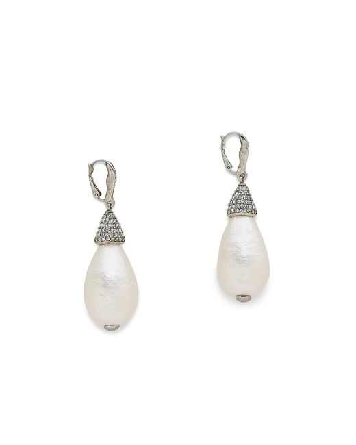 Oscar de la Renta | White Drop Earrings | Lyst