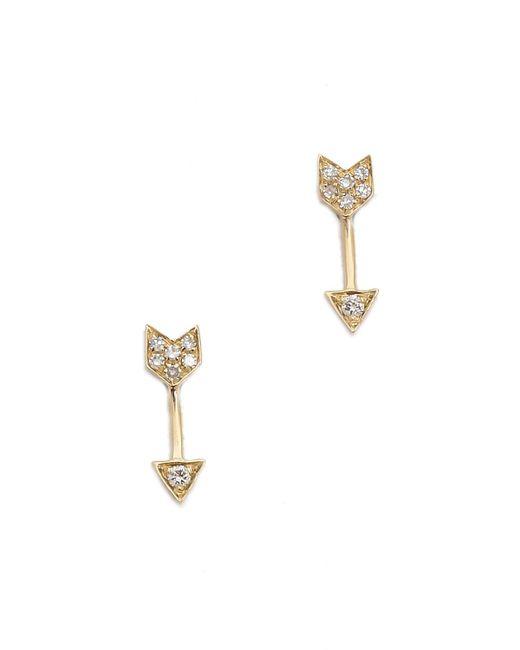 EF Collection | Metallic Diamond Mini Arrow Stud Earrings | Lyst