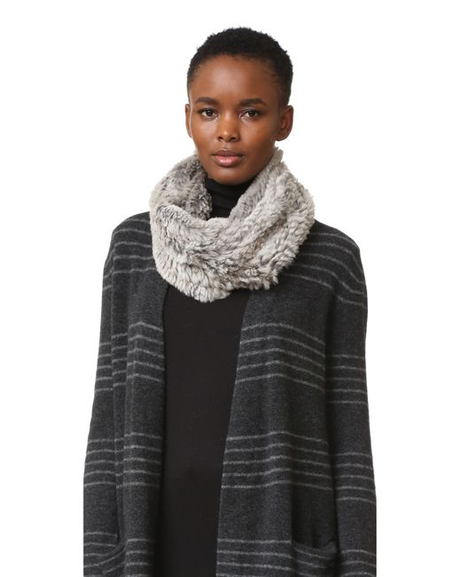 Adrienne Landau | Gray Knit Rabbit Fur Scarf | Lyst