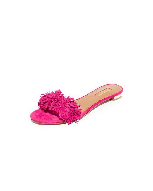 Aquazzura | Pink Wild Thing Slide Flats | Lyst