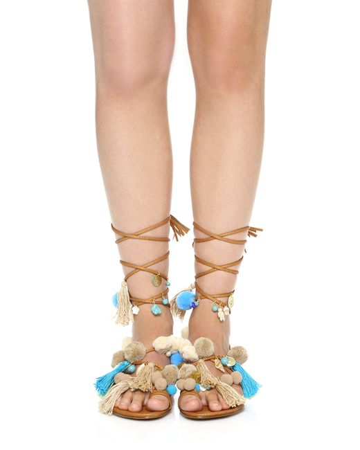 Alameda turquesa Santorini Pom Pom Lace Up Sandals in ...