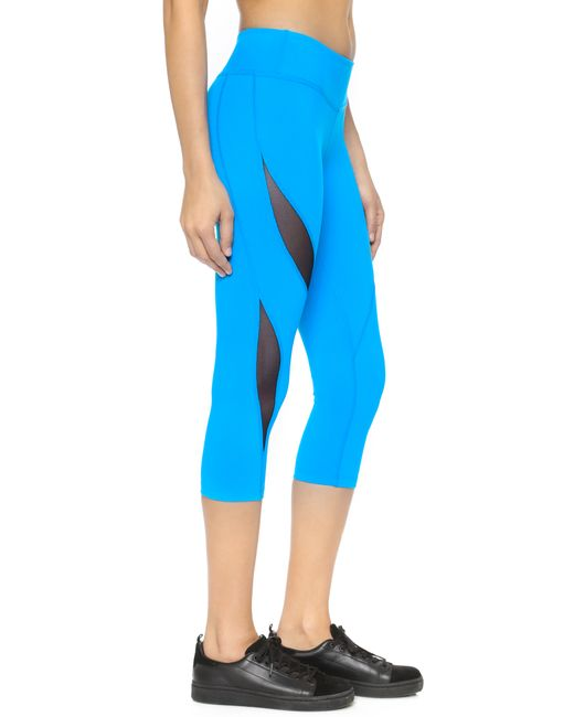 Beyond Yoga Double Panel Mesh Capri Leggings In Blue