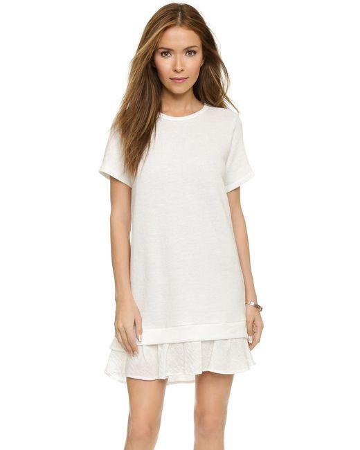 CLU   White Short Sleeve Sweatshirt Dress With Ruffle   Lyst