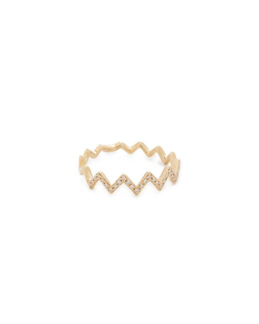 EF Collection | Yellow Pave Diamond Zigzag Stack Ring | Lyst