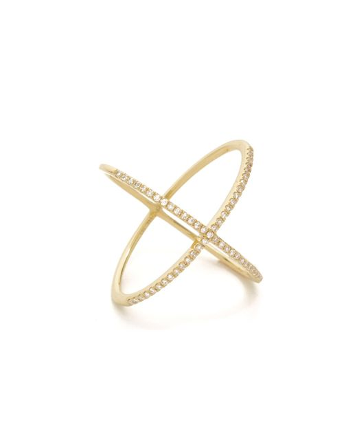 EF Collection | Yellow Pave Gold Diamond X Ring | Lyst