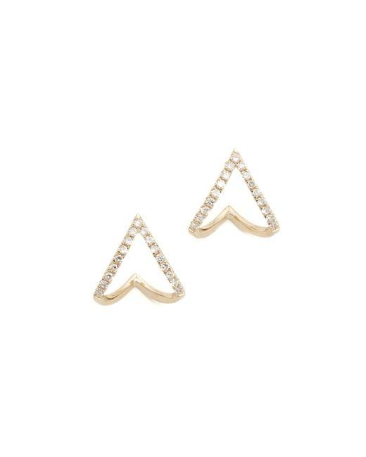 EF Collection | Metallic Diamond Mini Chevron Wrap Stud Earrings | Lyst