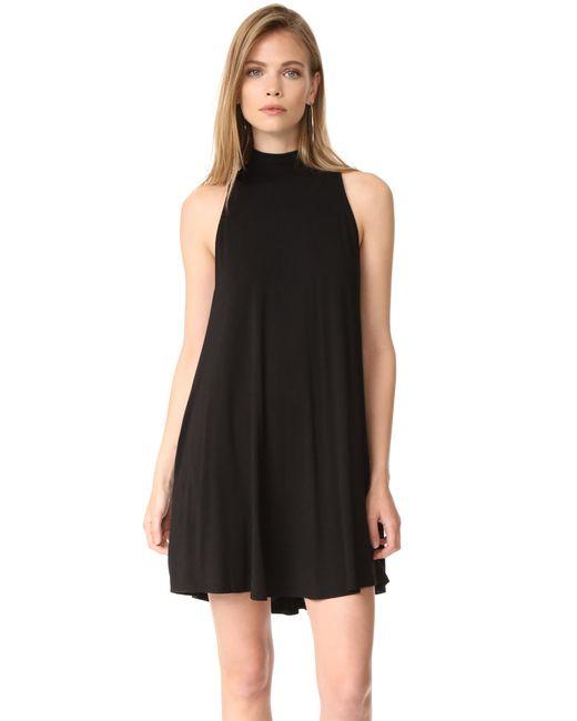 Enza Costa | Black Mock Neck Mini Swing Dress | Lyst