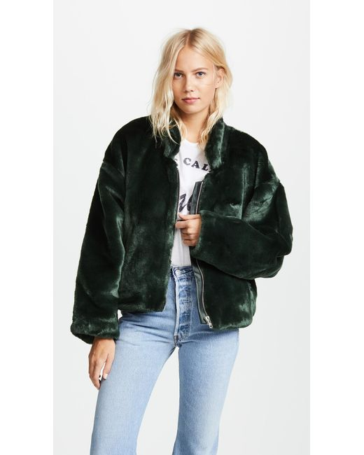 Free People   Green Furry Bomber Jacket   Lyst