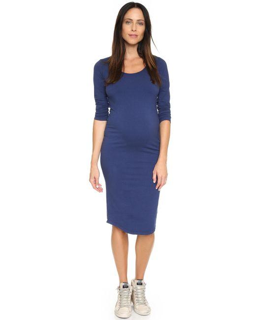Monrow | Blue Maternity Long Sleeve Dress | Lyst