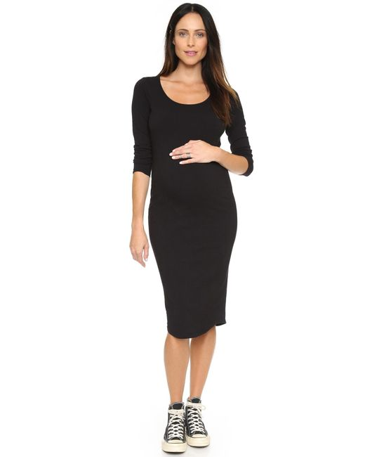 Monrow | Black Maternity Long Sleeve Dress | Lyst