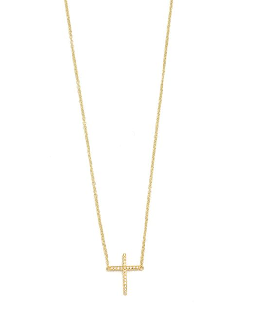 Jennifer Meyer | Metallic Thin Cross Necklace | Lyst