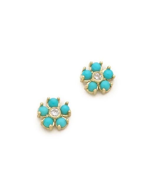 Jennifer Meyer | Blue Turquoise Flower Diamond Stud Earrings | Lyst
