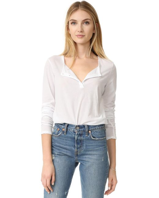 James Perse Button Down Henley In White Lyst
