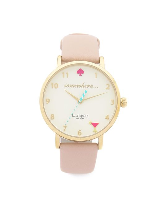 Kate Spade | Metallic 5 O'clock Metro Leather Watch | Lyst