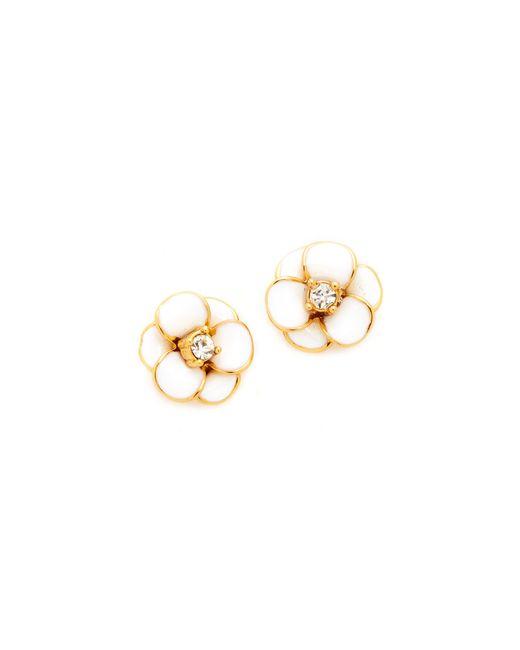Kate Spade | White Shine On Flower Stud Earrings | Lyst