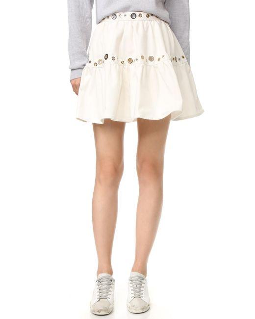 kenzo white denim eyelet skirt in white lyst