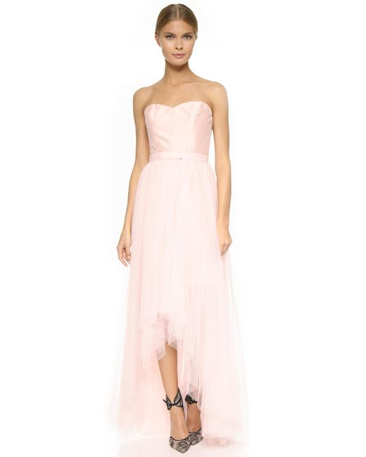 Monique Lhuillier Bridesmaids | Pink Strapless Dress With Removable Skirt | Lyst