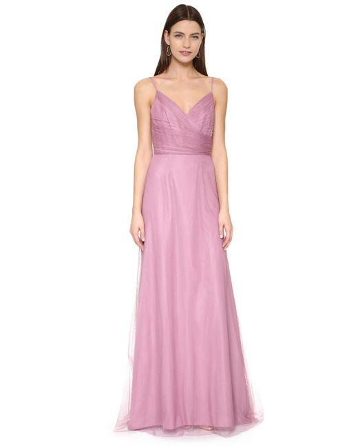 Monique Lhuillier Bridesmaids   Purple Draped Tulle Gown   Lyst