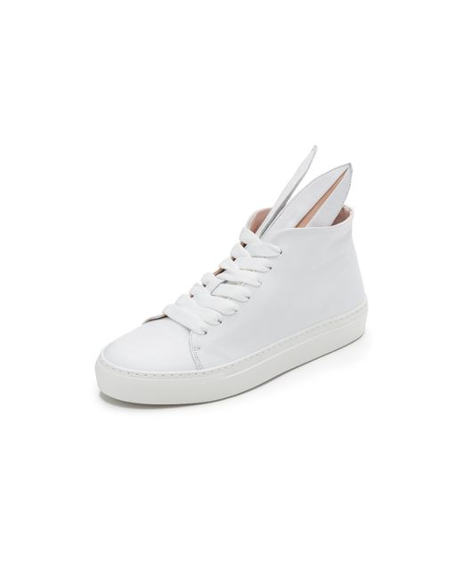 Minna Parikka | White Leather Bunny Ears High Top Sneakers | Lyst