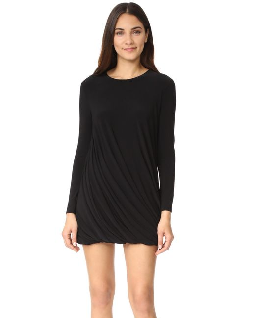 Norma Kamali | Black Long Sleeve Twist Mini Dress | Lyst