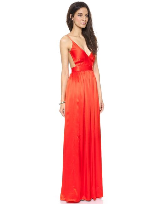 One By | Red Babs Bibb Silk Maxi Dress | Lyst