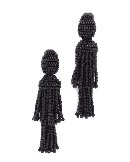 Oscar de la Renta | Black Short Beaded Tassel Clip-on Earrings | Lyst