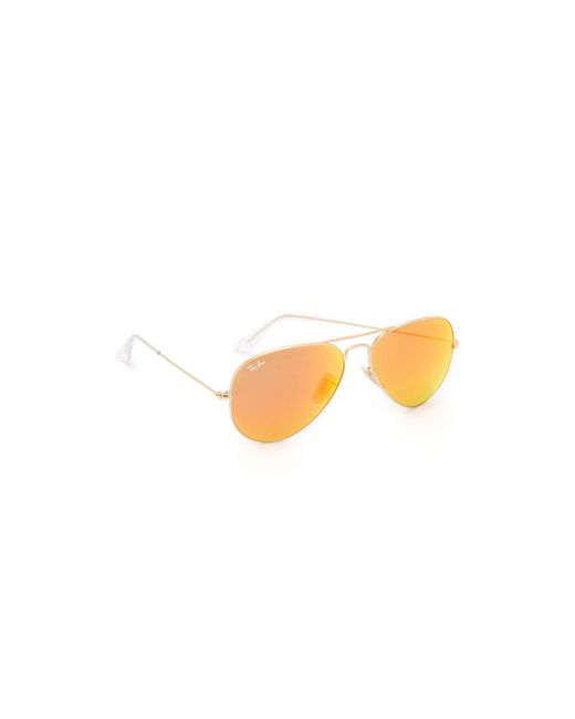 aviator sunglasses mirror sb1e  Ray-Ban  Orange Mirrored Matte Classic Aviator Sunglasses  Lyst