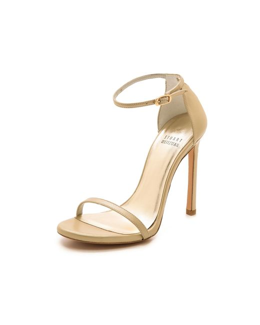 Stuart Weitzman | Metallic Nudist Single Band Sandal | Lyst