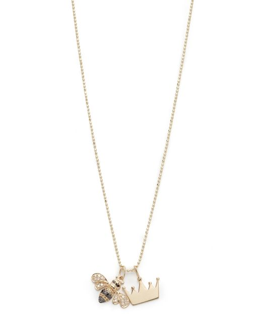 Sydney Evan | Metallic Queen Bee Charm Necklace | Lyst
