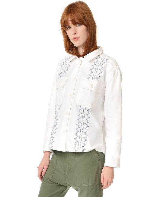 The Great The Embroidered Army Shirt Jacket In White Lyst